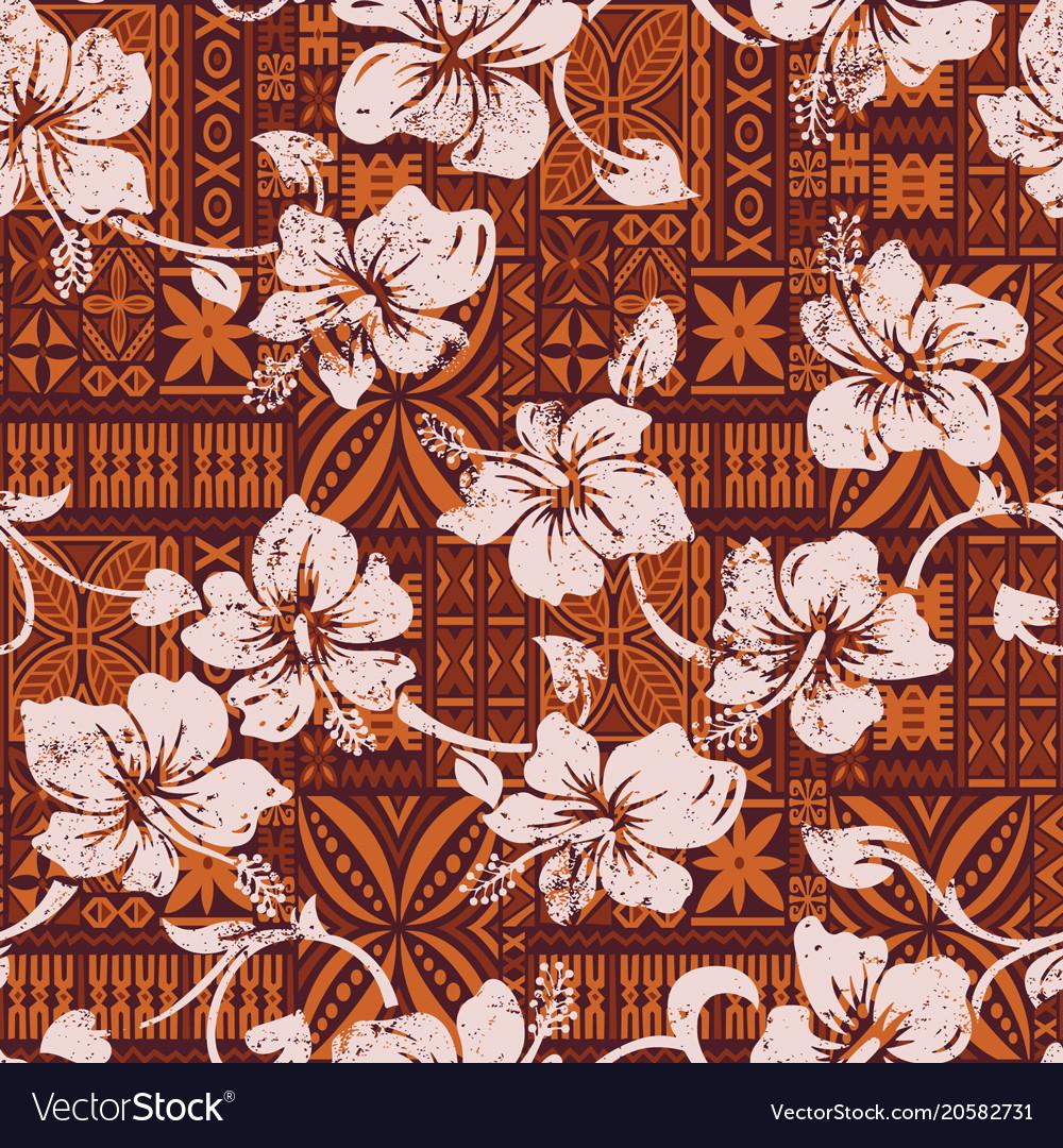 Polynesian Tribal Wallpaper: Tribal Vintage Hawaiian Hibiscus Flowers Wallpaper