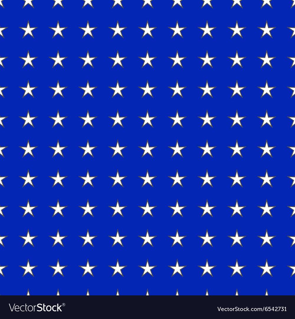 White stars on blue background seamless pattern