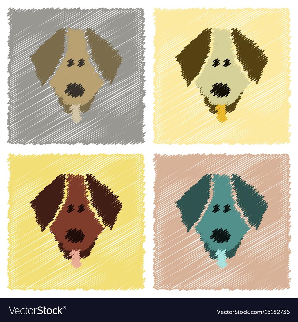 Assembly flat shading style icons pet dog