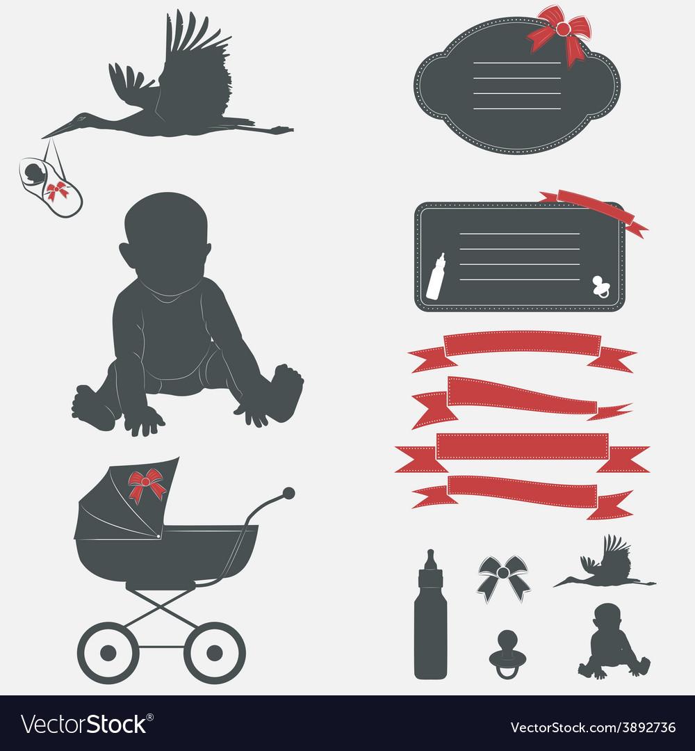 Baby shower set Silhouette design elements