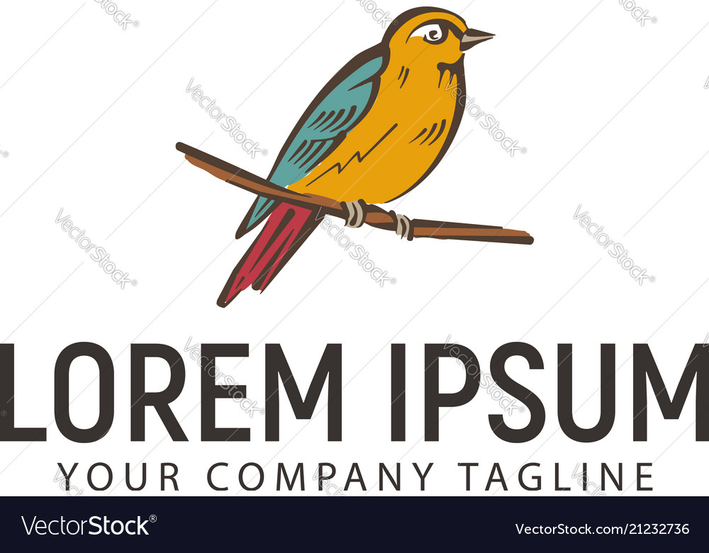 Bird hand drawn logo design concept template