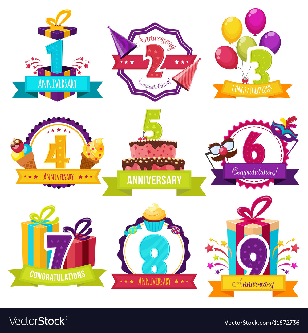 Birthday Party Colorful Emblems