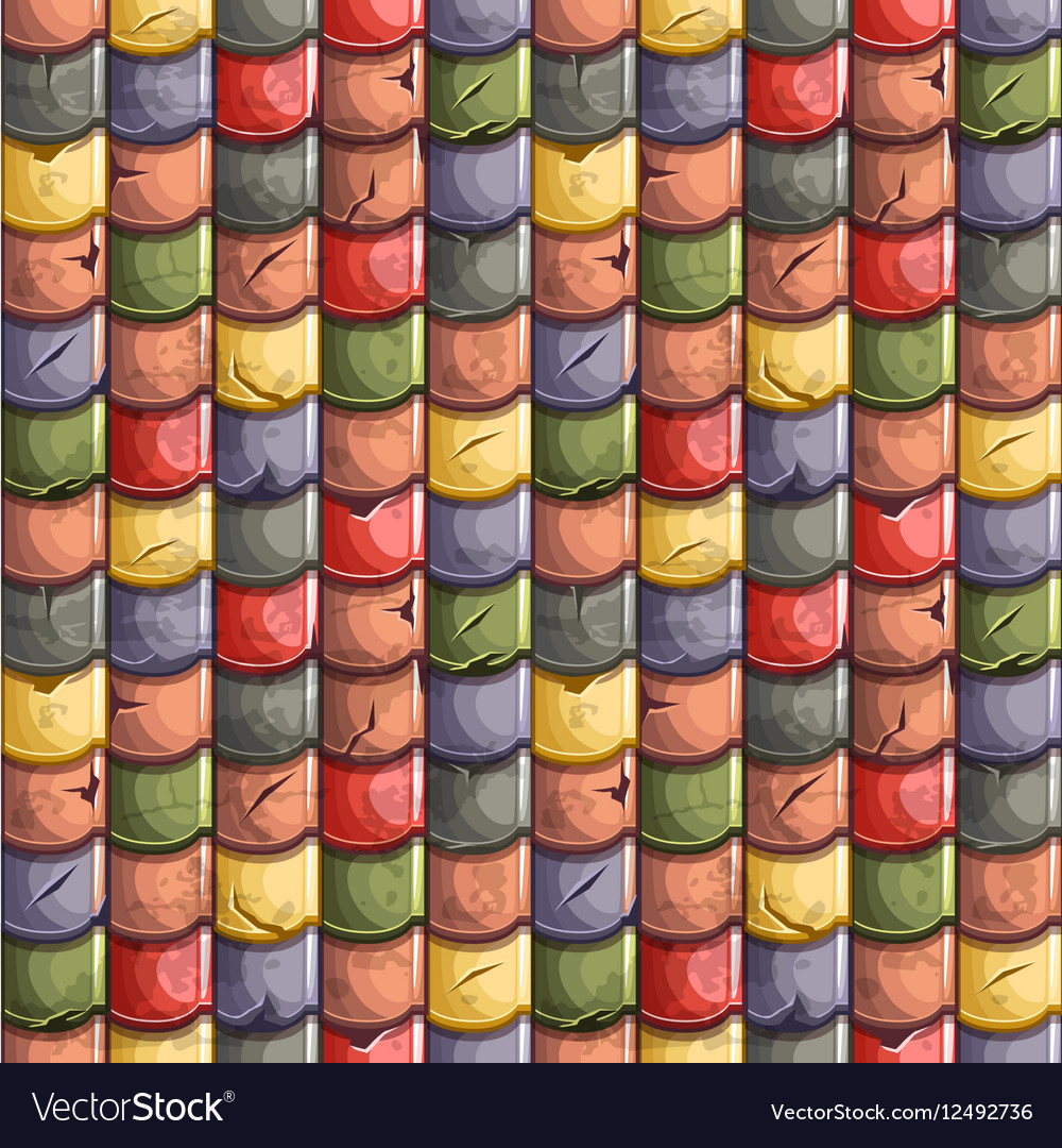 Colored old Roof Tiles Seamless Background