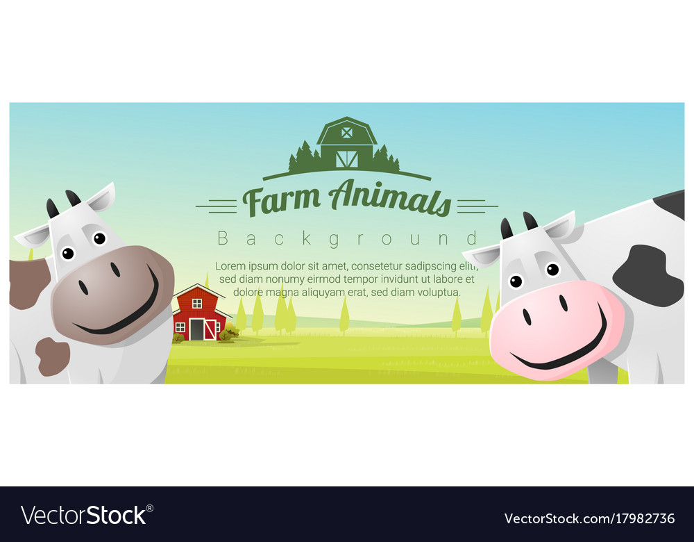 Farm animal and rural landscape with cows