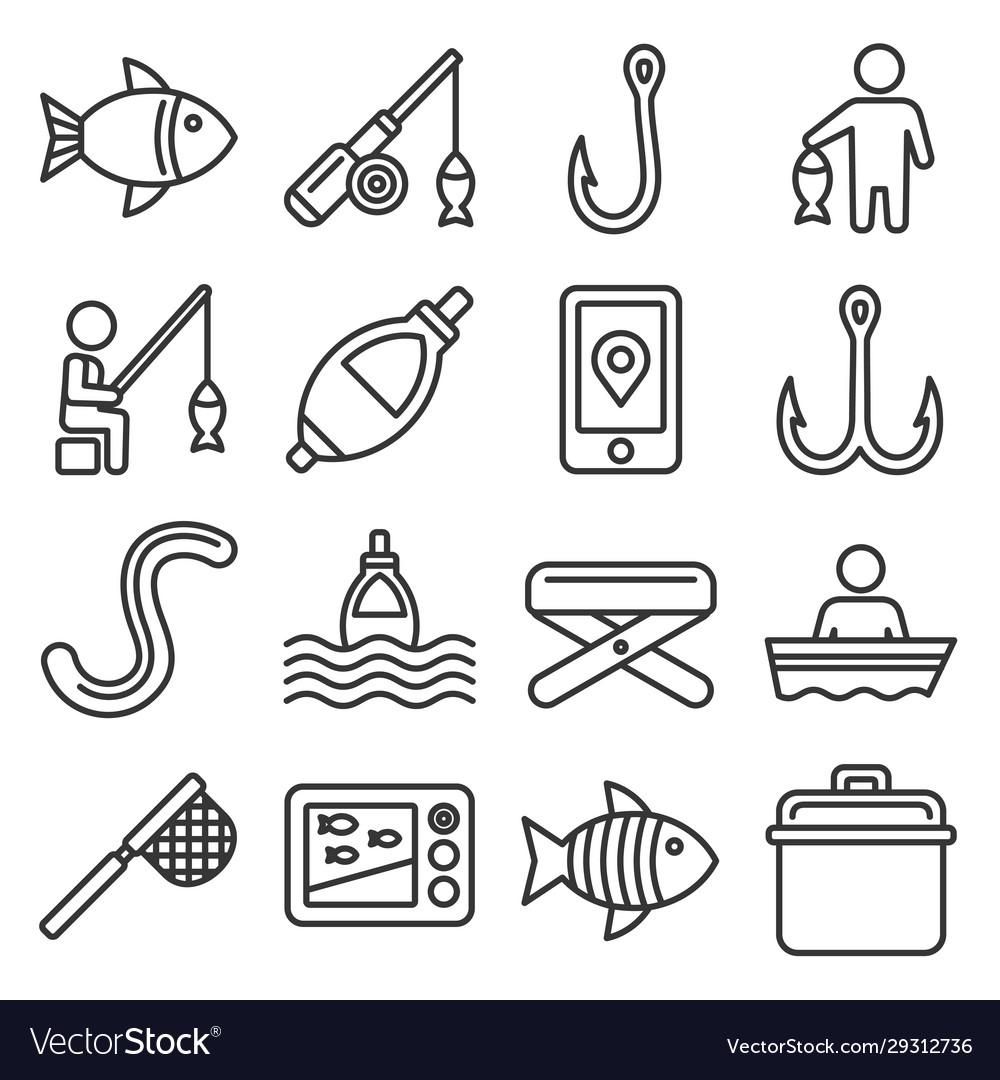 Fishing icons set on white background line style