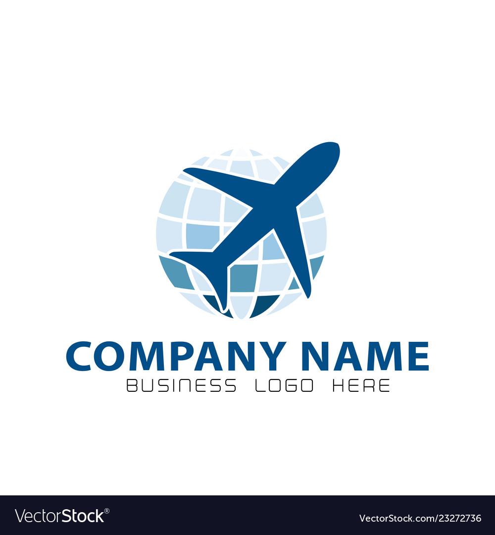 Globe logo with plane icon