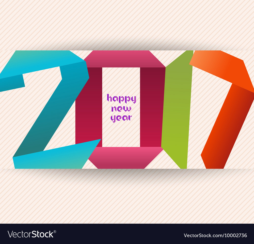 Happy New Year 2017 Banner Origami Calendar Cover Vector Image Fireworks Diagram