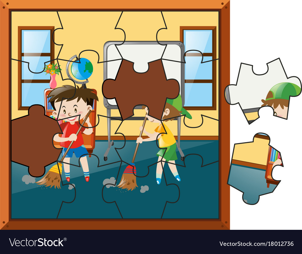 Jigsaw puzzle game with two boys sweeping floor