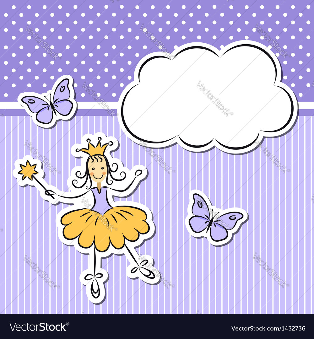 Little girl with paper cloud and butterflies