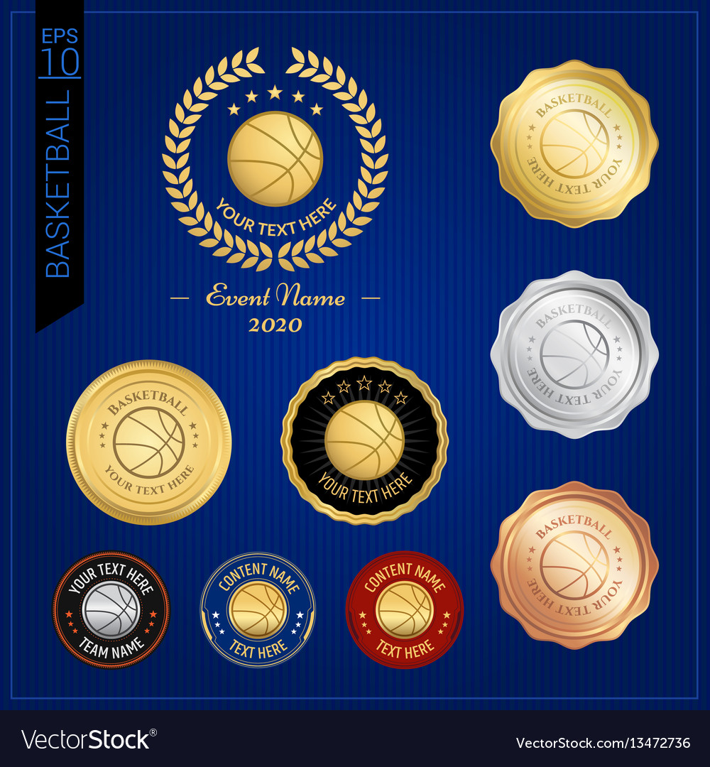 Set of basketball badge label or emblem for sport vector image
