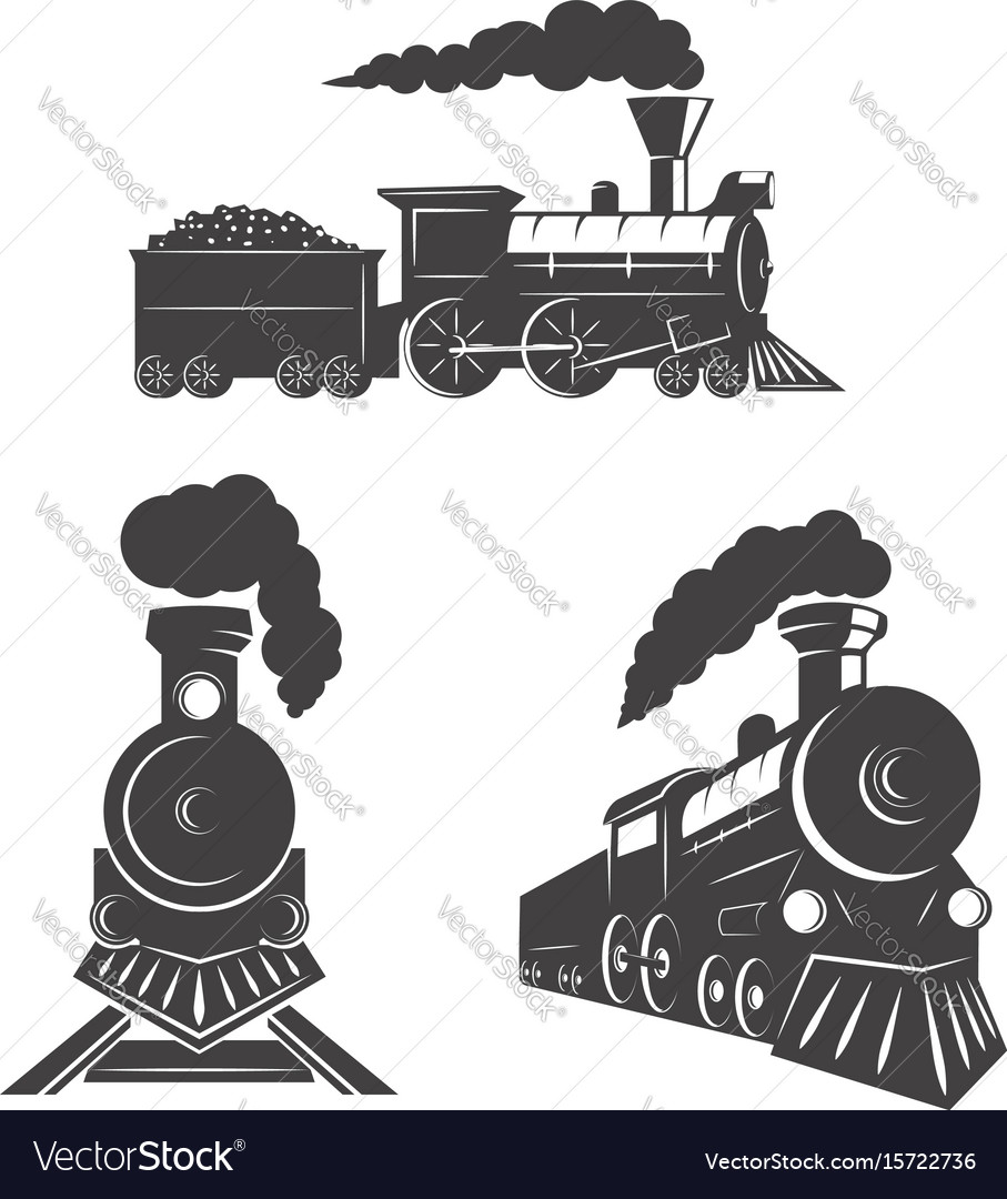 Set of trains icons isolated on white background