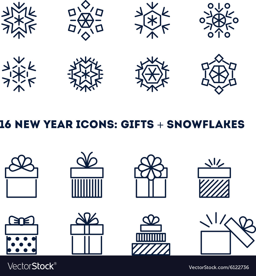 Snowflakes and gifts outline icons set for new