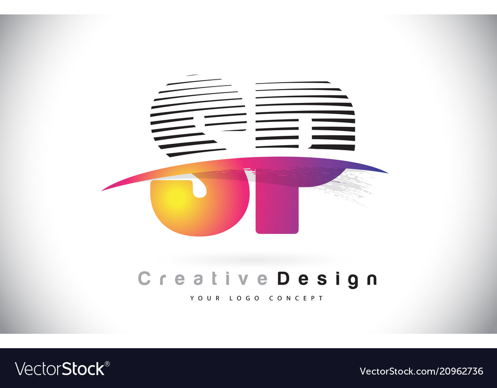 Sp s p letter logo design with creative lines and