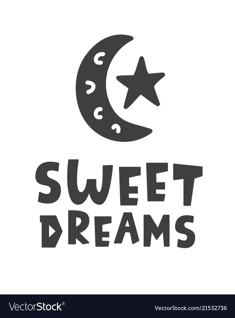 Cresent Cute Moon Sleeping Sweet Dreams Nursery Wall Decor Art Poster Print