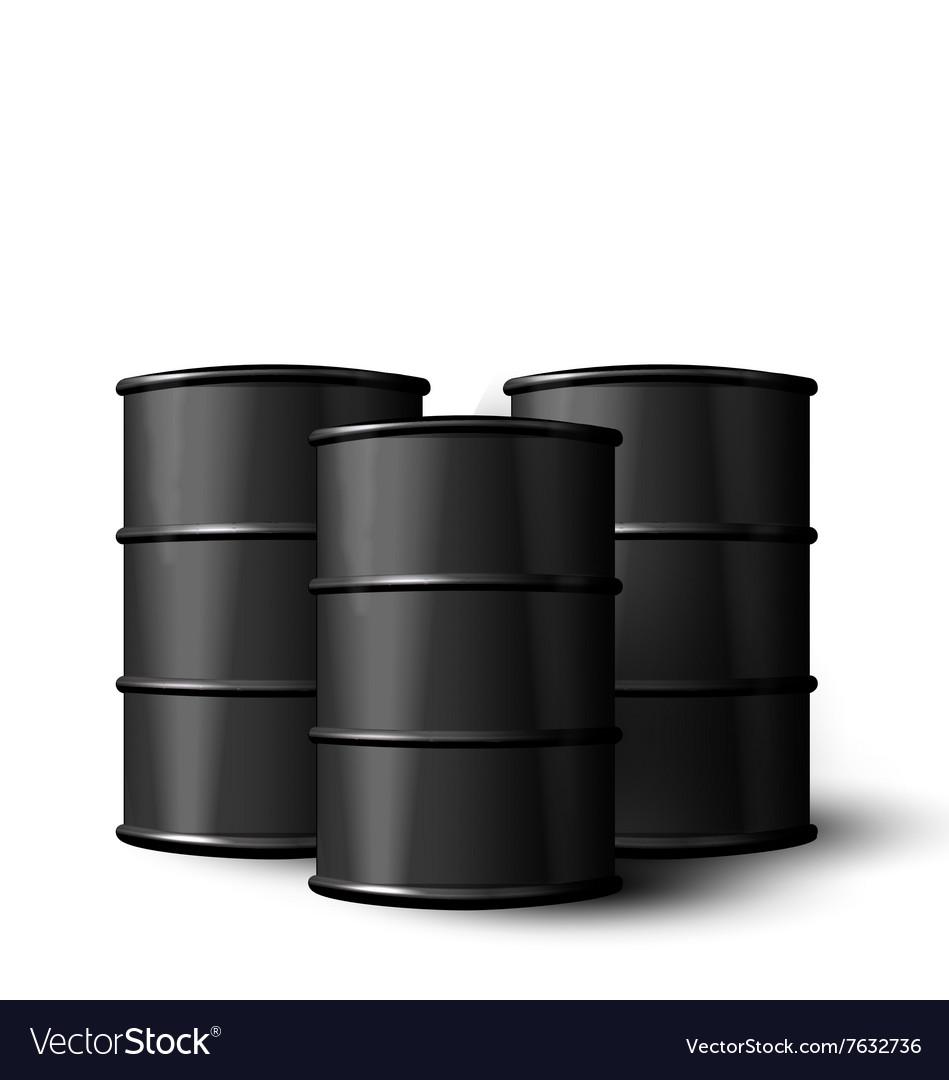 Three Realistic Black Metal of Oil Barrels