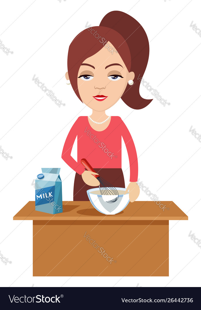 Woman cooking with milk on white background