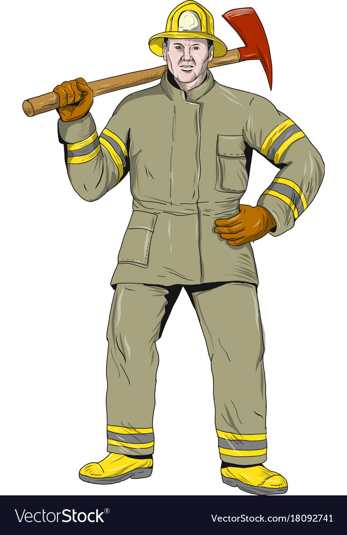 American firefighter fire axe drawing