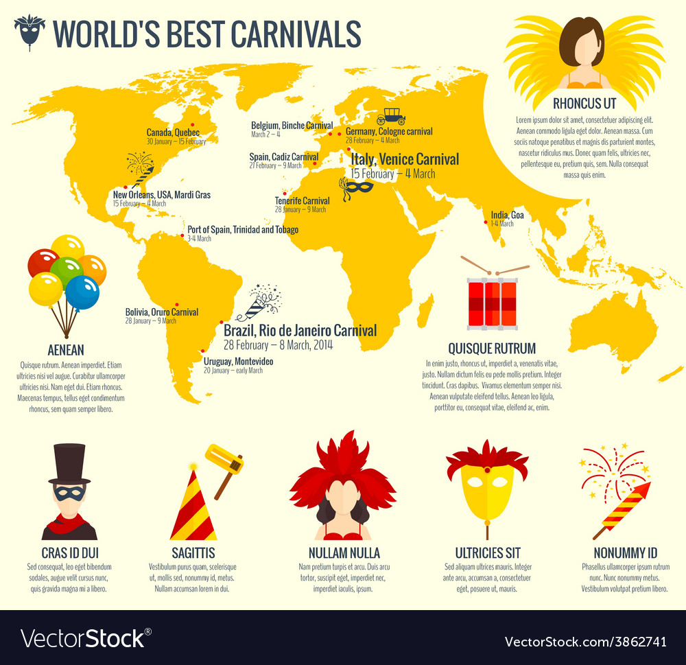 Carnival infographic poster print vector image