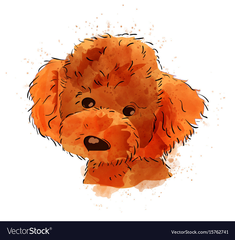 Dog hand painted watercolor isolated