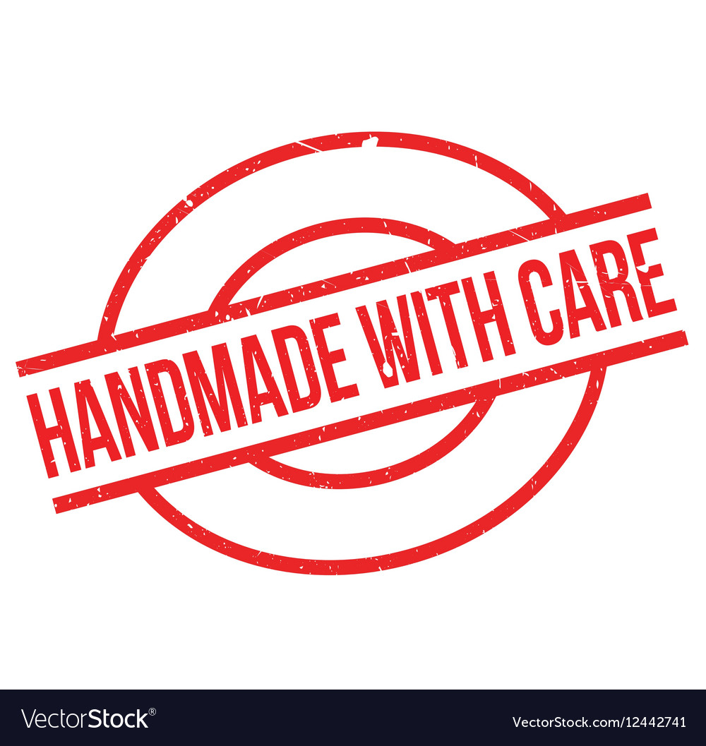 Handmade With Care Rubber Stamp Vector Image