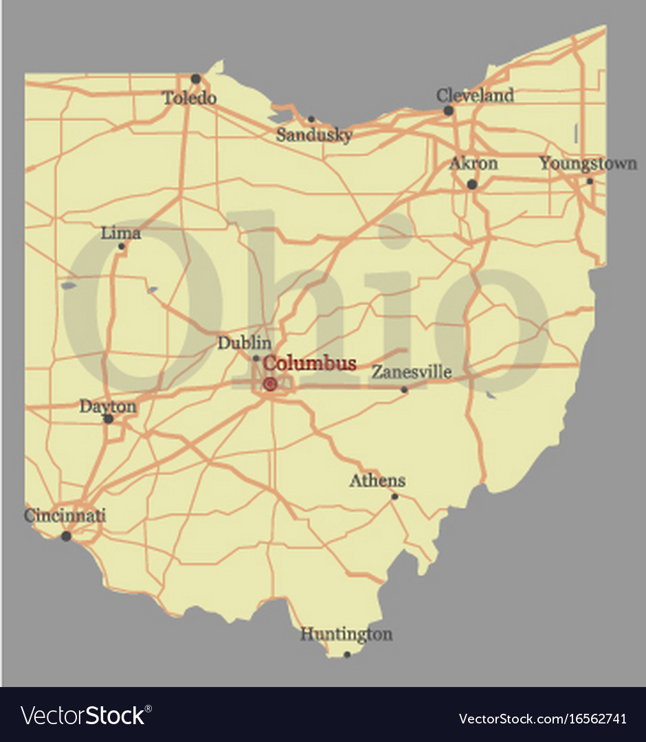 Ohio On State Map.Ohio Detailed Exact Detailed State Map With Vector Image