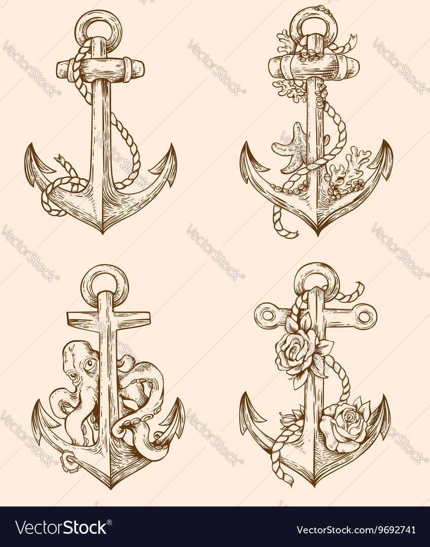 Set of hand drawn vintage anchors vector image