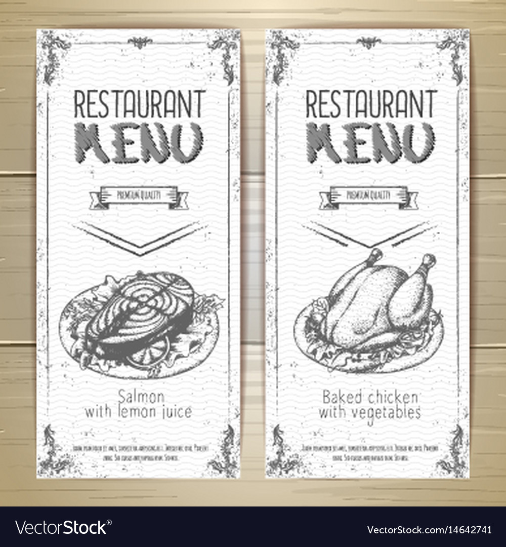 Set of restaurant menu hand drawn banners