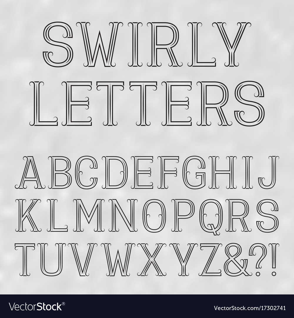 Swirly font black capital letters of lines on a
