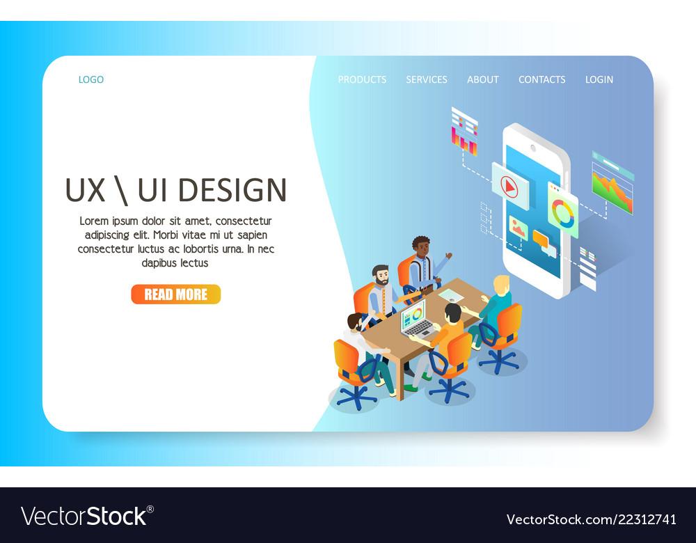 Ux Or Ui Design Landing Page Website Royalty Free Vector