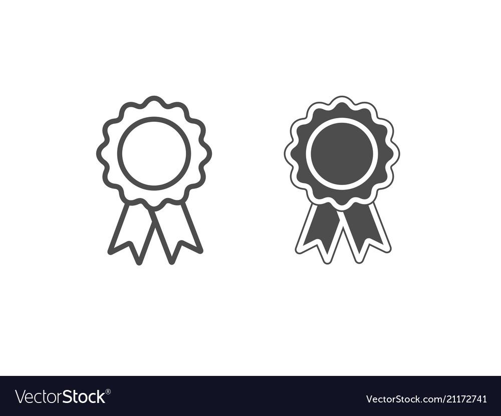 White and black award icons isolated