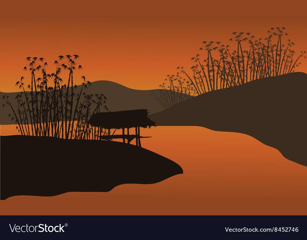 A hut at the riverbank vector image