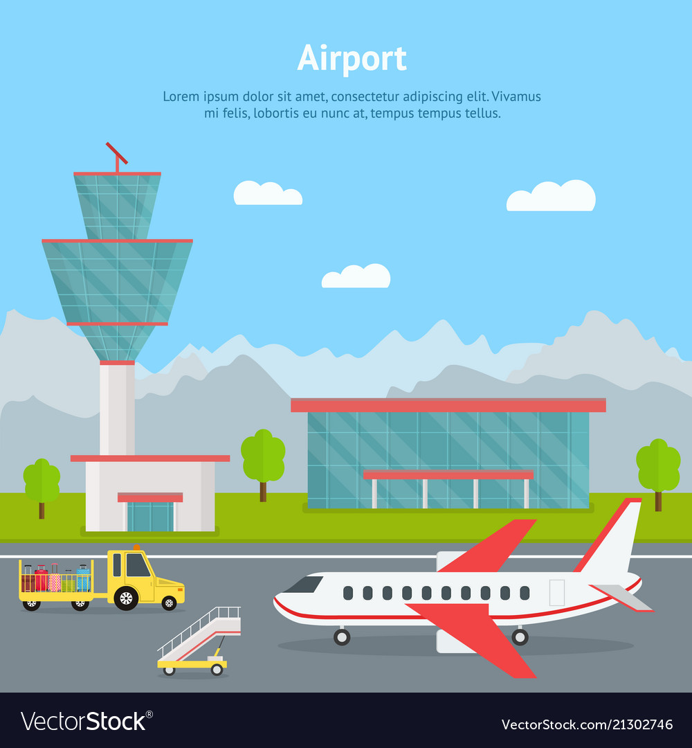 Cartoon airport building and airplanes card
