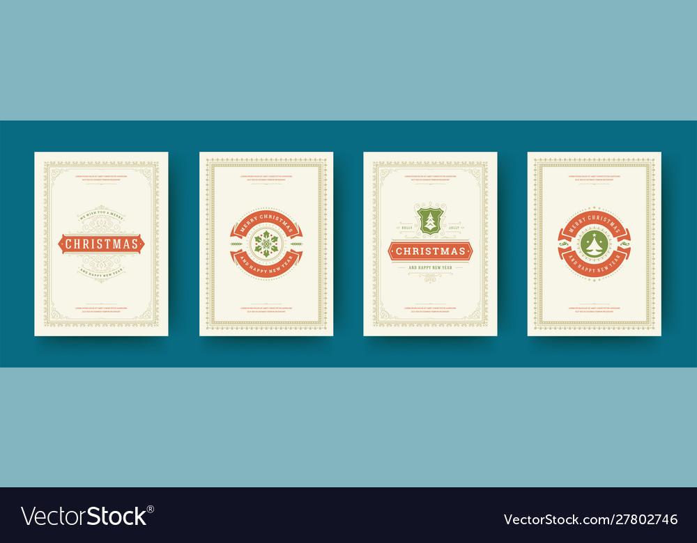 Christmas cards set vintage typographic design