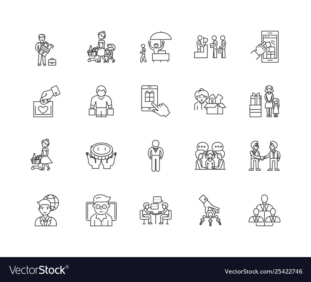 Clients line icons signs set outline