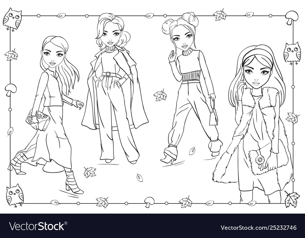 Coloring book of girls in autumn clothes walking