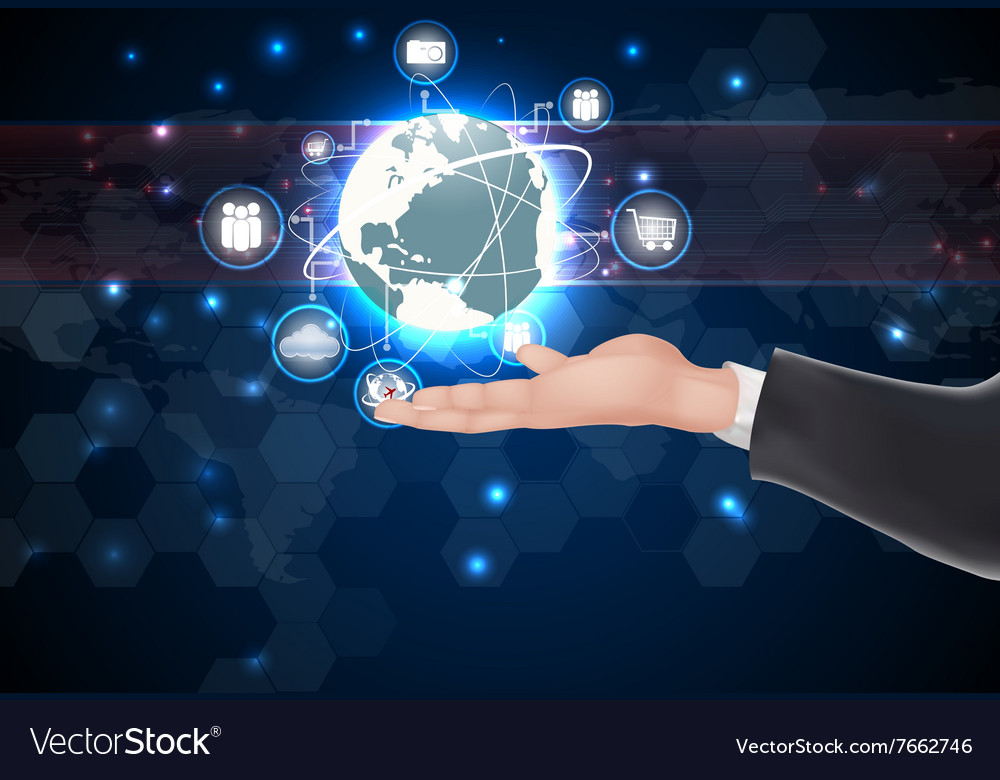 Globe connections over hand vector image
