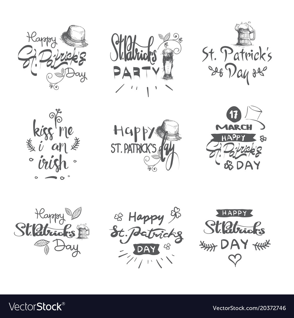 Happy patricks day icons set hand drawn lettering