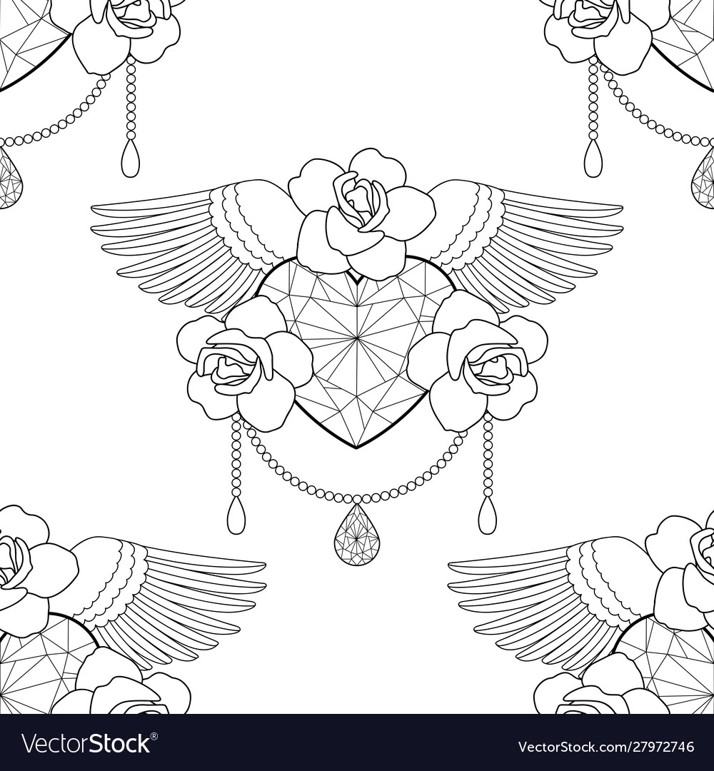Heart and roses outline seamless pattern