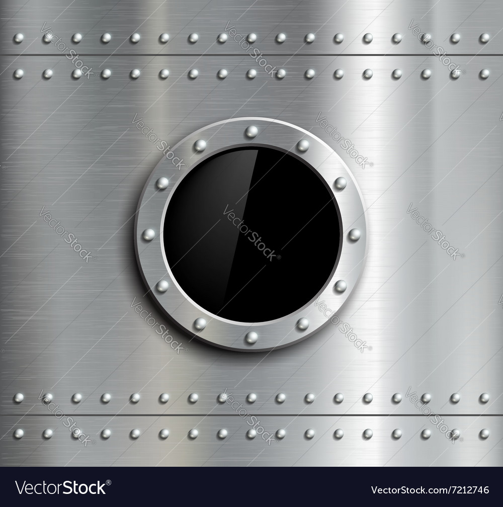 Round metal window with rivets
