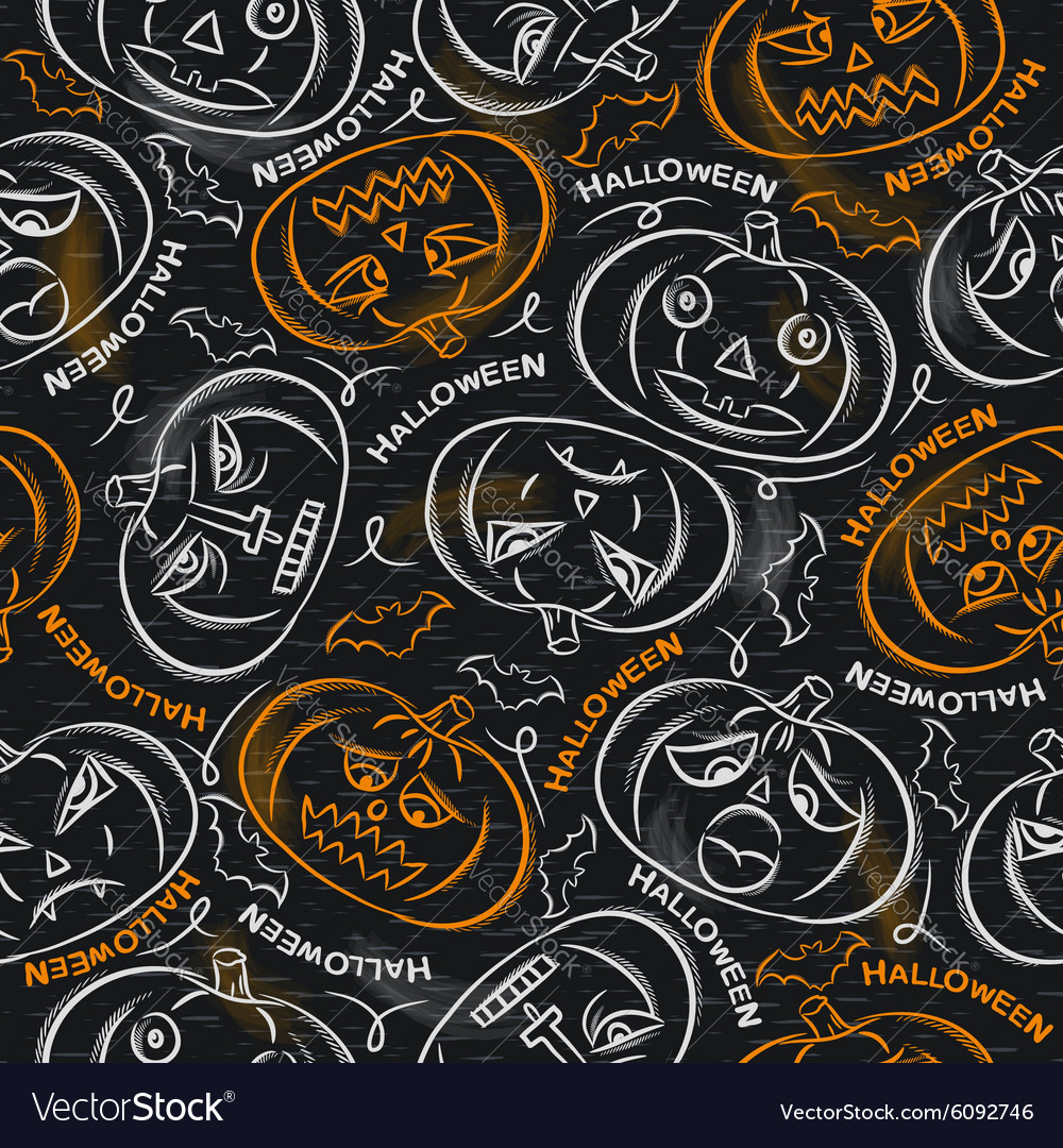 Seamless Pattern with color Halloween Pumpkins