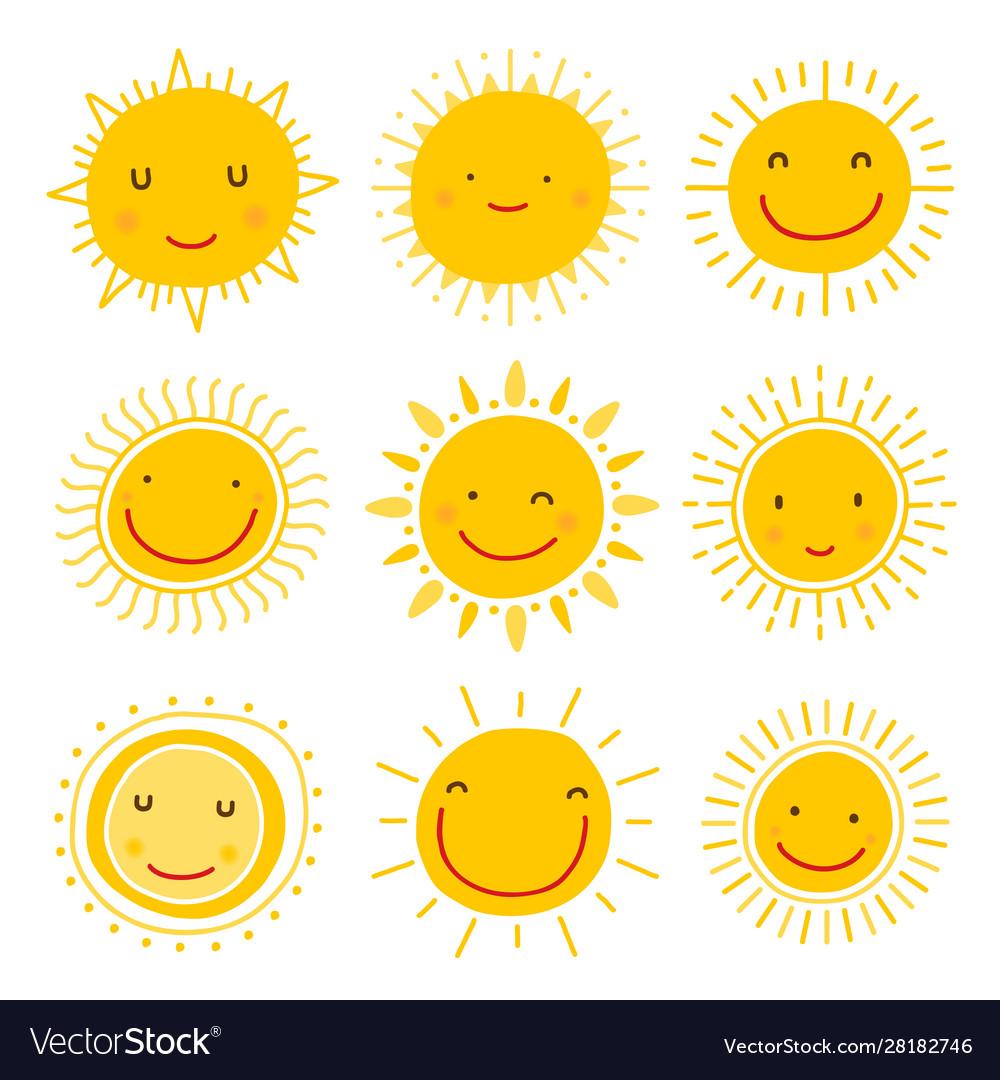 Set sun icons collection suns
