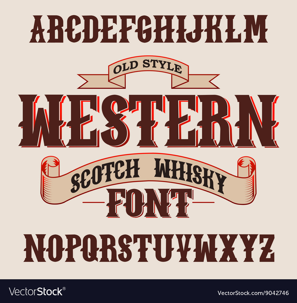 Western label font with decoration design