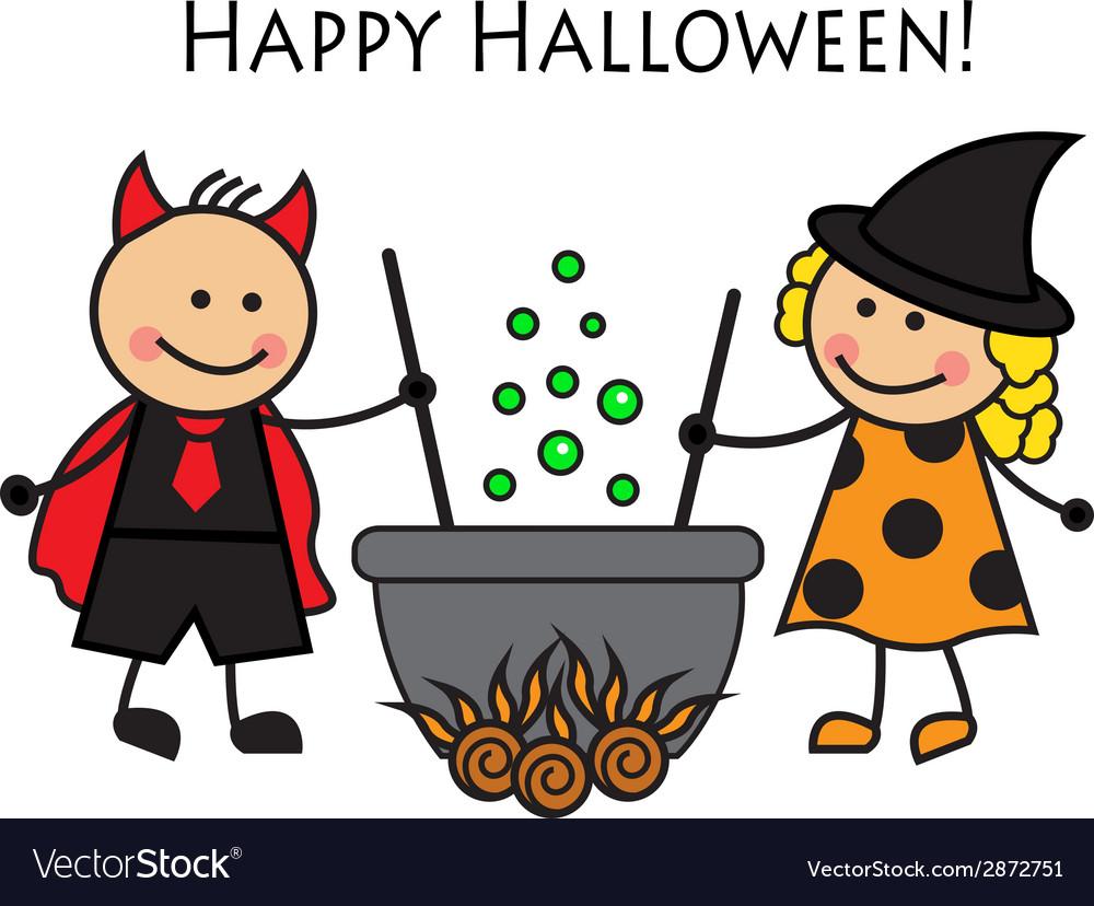 Cartoon people in costume Halloween
