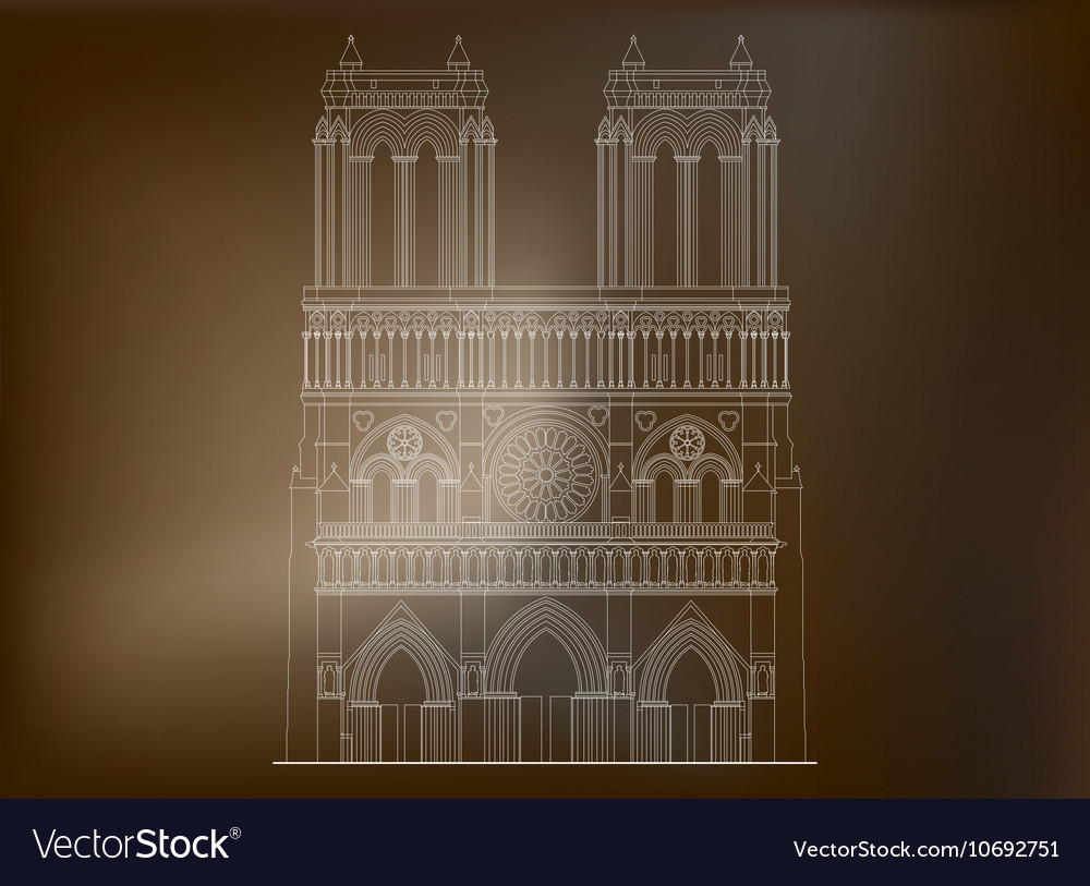 Cathedral Notre-Dame de Paris in France - 3 vector image