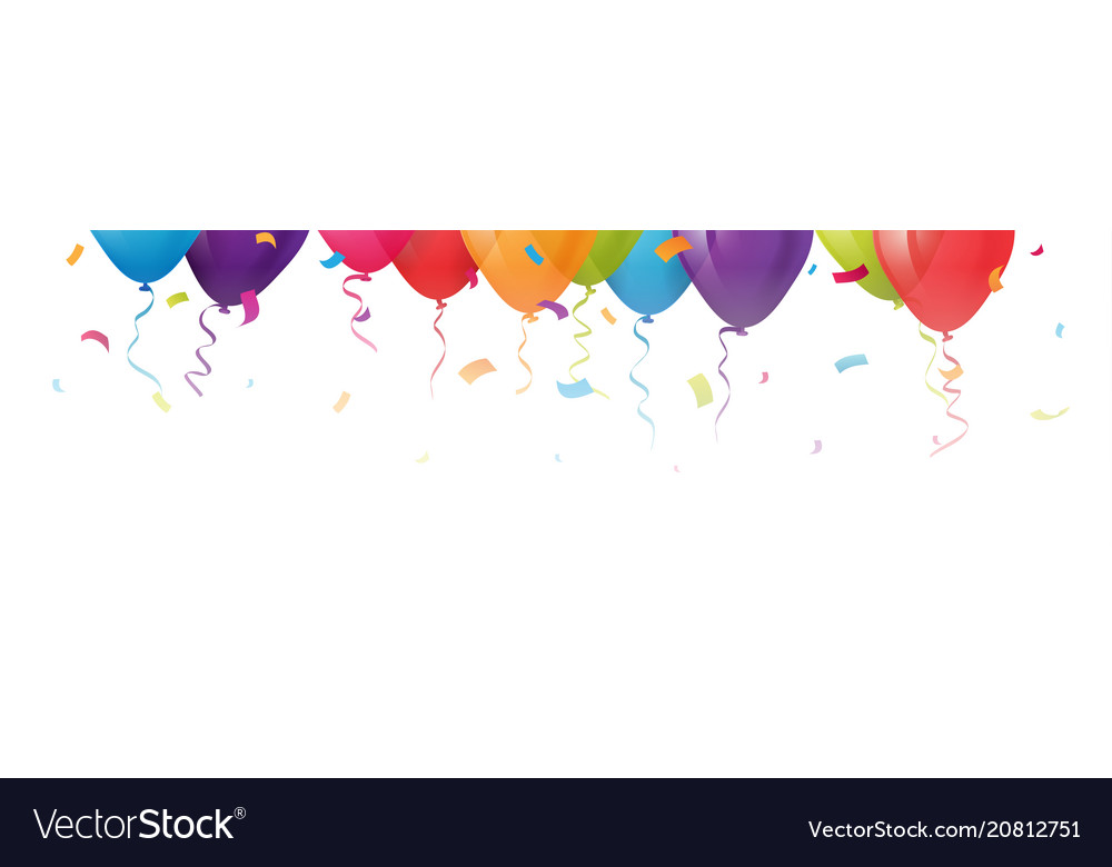 Celebration balloons with confetti vector image