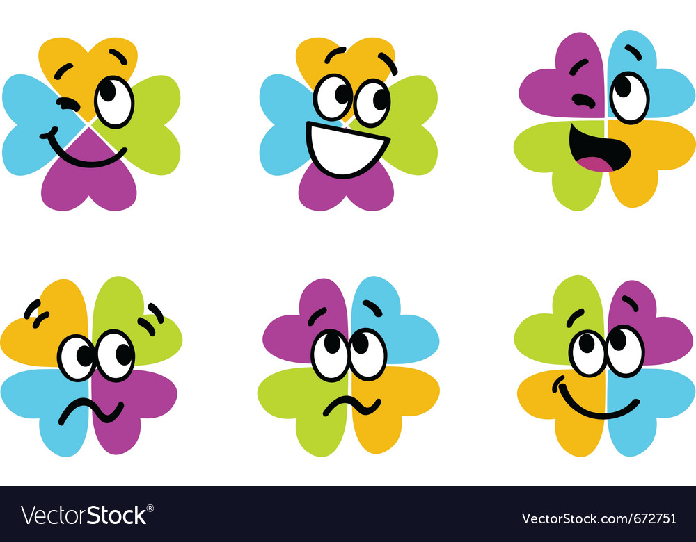 Cute Colorful Four Leaf Clover Collection Vector Image