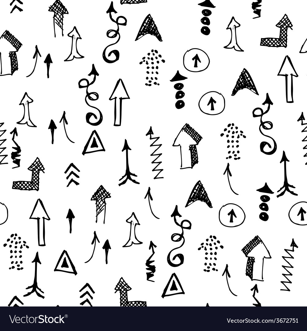Doodle Arrows Seamless Pattern Background Concept