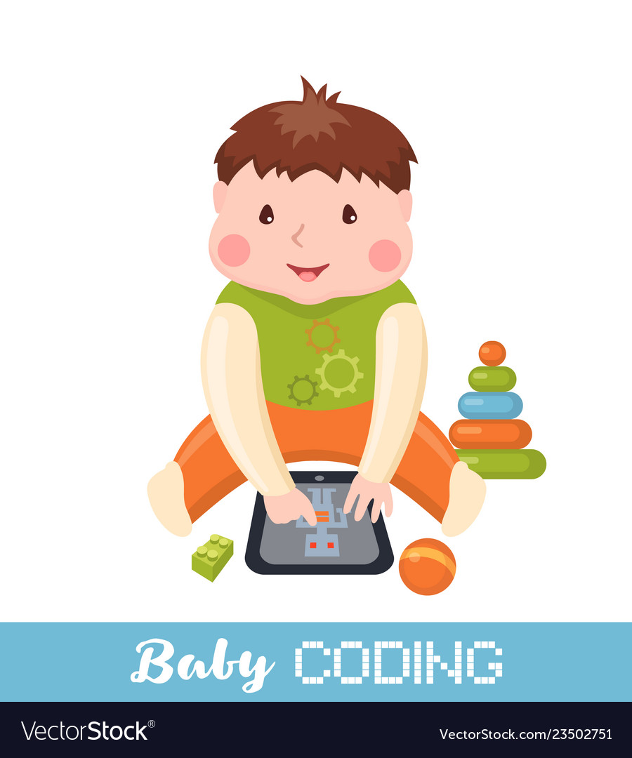 Little boy learning coding on tablet