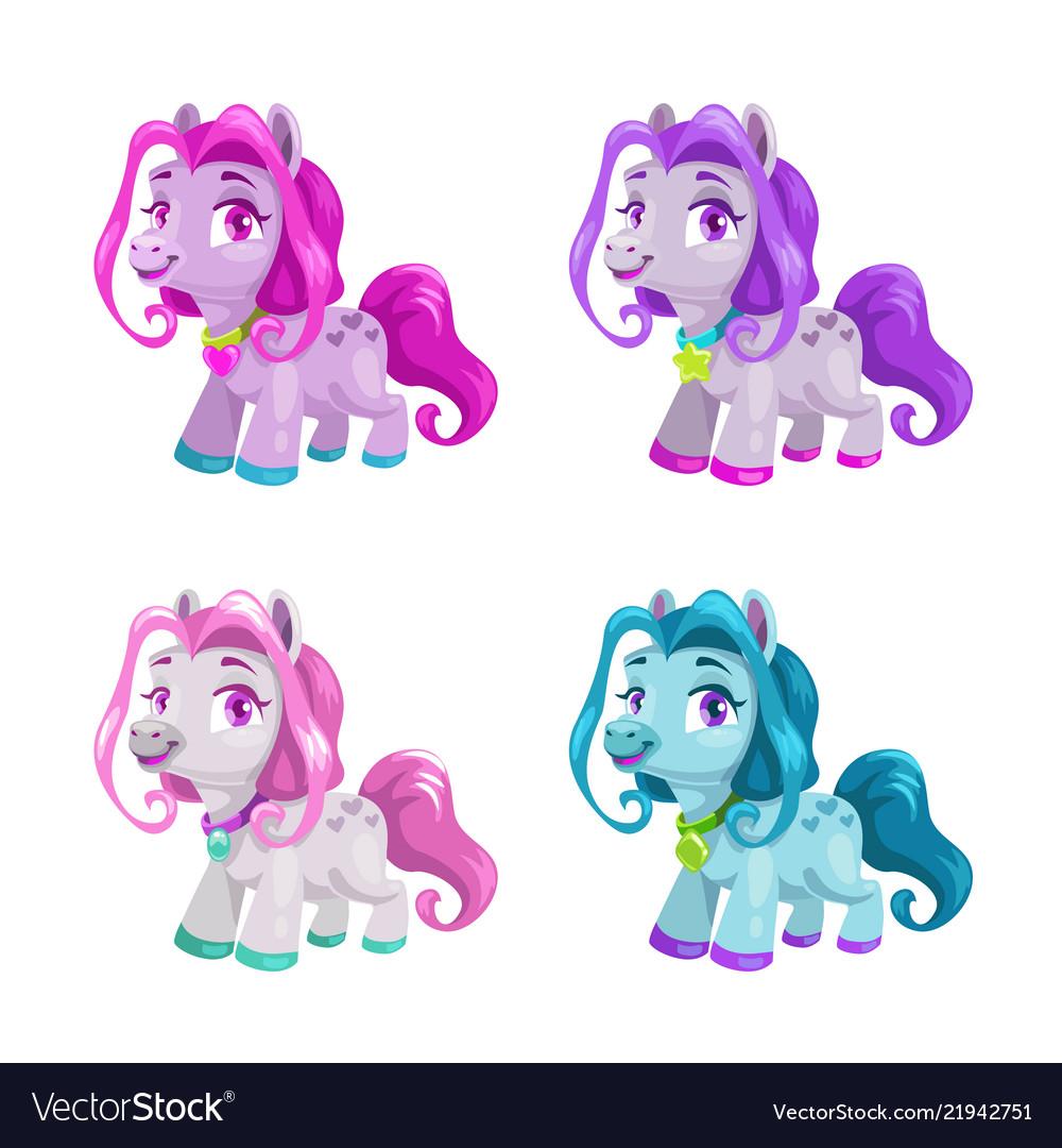 Little cute cartoon horses set pony princess toys