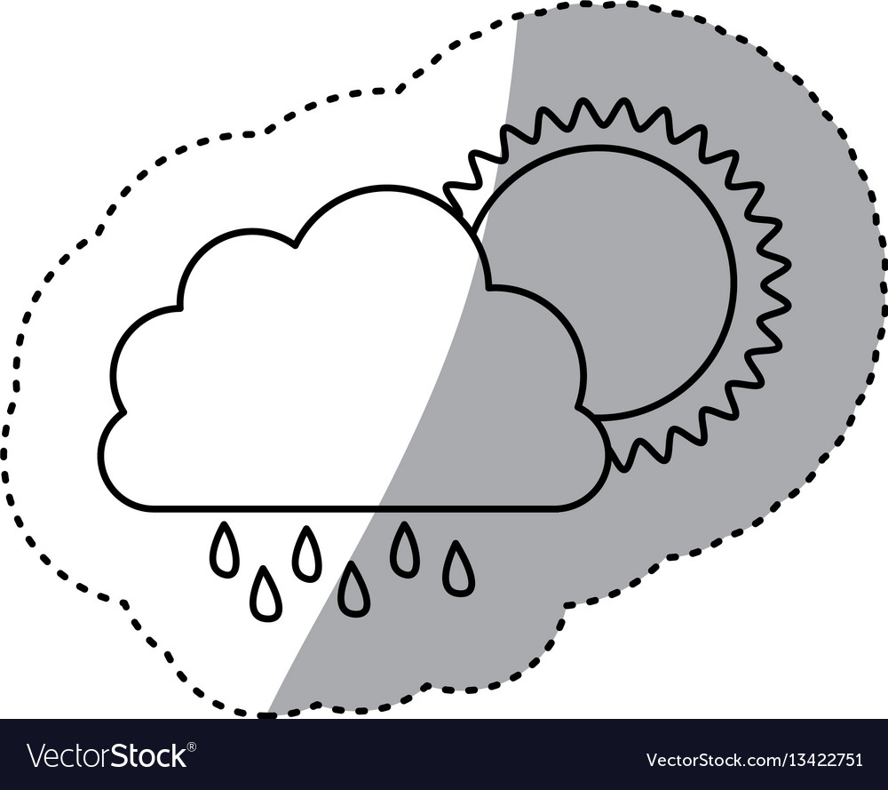 Monochrome contour sticker of cloud with rain and vector image